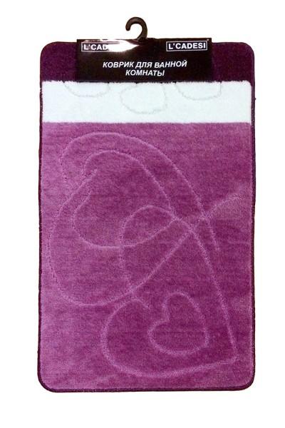 Комплект ковриков из полипропилена на латексной основе, 2шт. 60х100 L'CADESI MARATHON  NIDA Лиловый, высота ворса 12мм, плотность 1450 г/м2