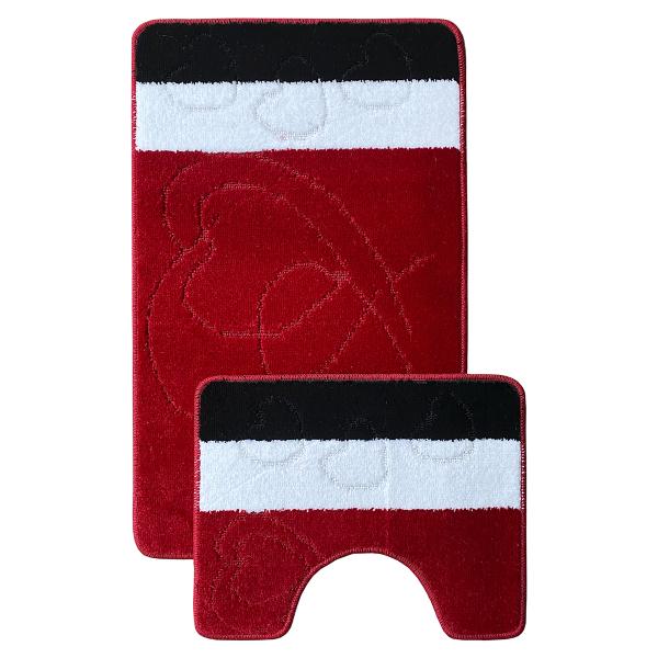 Комплект ковриков L'CADESI MARATHON из полипропилена на латексной основе, 2 шт. 60x100см и 50x60см, Nida красный