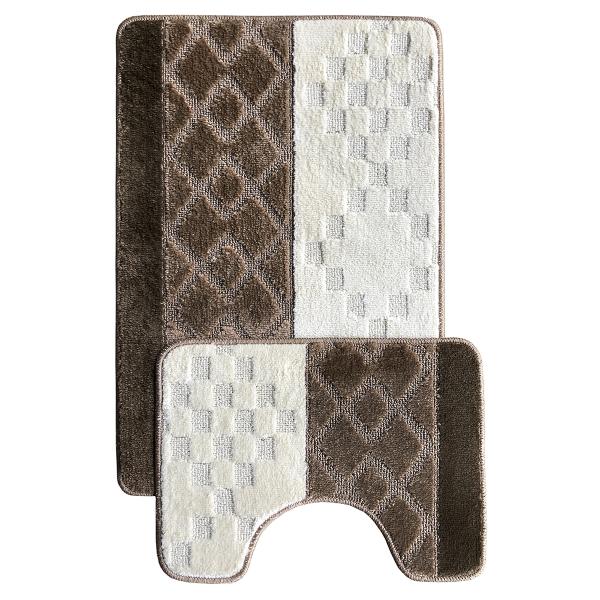 Комплект ковриков L'CADESI MARATHON из полипропилена на латексной основе, 2 шт. 60x100см и 50x60см, ромб коричневый