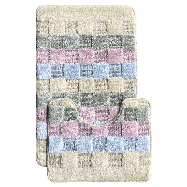 Комплект ковриков L'CADESI MARATHON из полипропилена на латексной основе, 2 шт. 60x100см и 50x60см, Block to block розовый