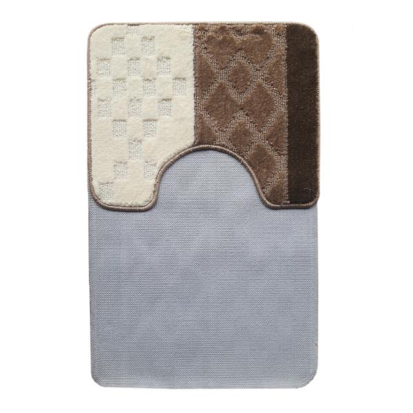 Комплект ковриков L'CADESI MARATHON из полипропилена на латексной основе, 2 шт. 60x100см и 50x60см, ромб шоколад